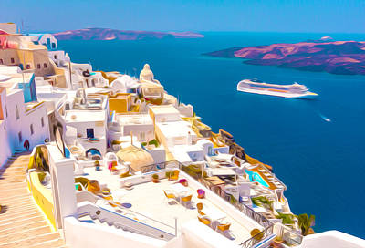 Orthodox Painting - White Houses Of Santorini by Lanjee Chee