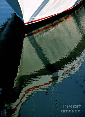 White Hull On The Water Art Print
