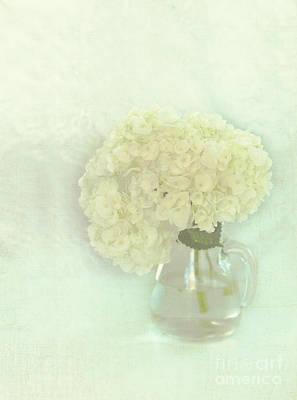 White Hydrangeas Print by Kay Pickens