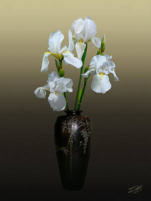 Photograph - White Iris In Vase by IM Spadecaller