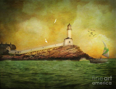 Lighthouse Digital Art - White Island Light - Isles Of Shoals by Lianne Schneider