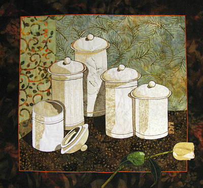 Still Life Tapestries Textiles Tapestry - Textile - White Jars by Lynda K Boardman