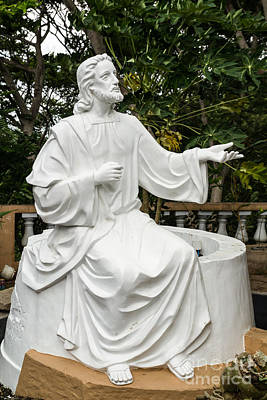 Redeemer Sculpture - White Jesus Statue by Tosporn Preede