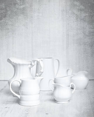 White Background Photograph - White Jugs by Amanda Elwell