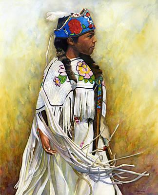White Leather Buckskin And Headdress Art Print by Jacquelin L Vanderwood Westerman