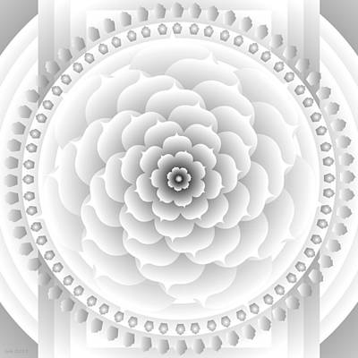 White Light Healing Mandala Art Print by Sarah  Niebank