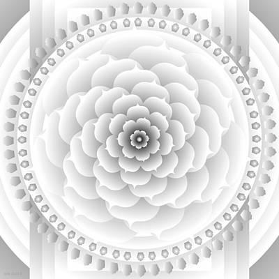 White Light Healing Mandala Print by Sarah  Niebank
