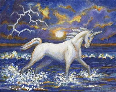 Horses In The Ocean Painting - White Lightening by Linda Mears