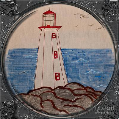 Newfoundland Quilt Drawing - White Lighthouse - Porthole Vignette by Barbara Griffin