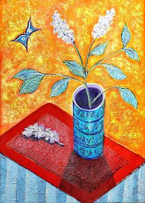 Cadmium Red Painting - White Lilac And Butterfly by Ion vincent DAnu