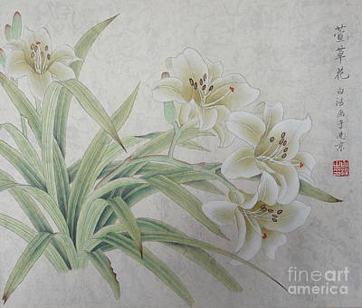 Oriental Lily Painting - White Lilie by Birgit Moldenhauer