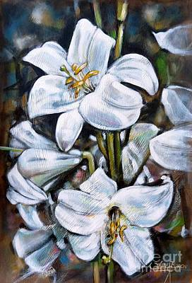 Large Painting - White Lillies 240210 by Selena Boron
