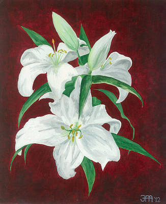 White Lily Dark Red Background  Art Print by Jekaterina Mudivarthi