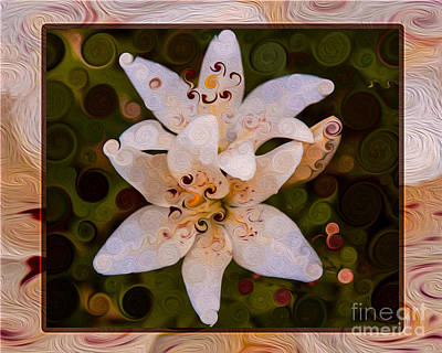 Wa Painting - White Lily Opening To The Sun Abstract Flower Art by Omaste Witkowski