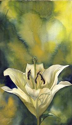 White Lily With Blue Art Print by Alfred Ng