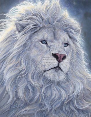 Male Painting - White Lion by Lucie Bilodeau