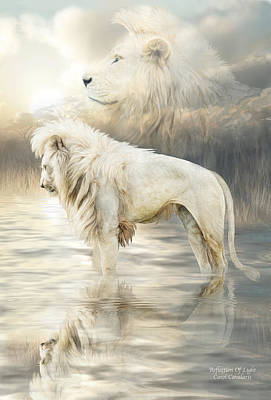 Mixed Media - White Lion - Reflection Of Light by Carol Cavalaris