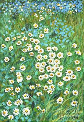 Painting - White Little Daisies And Wildflowers by Jingfen Hwu