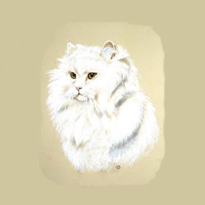 White Long Hair Cat Art Print by Jeanie Beline