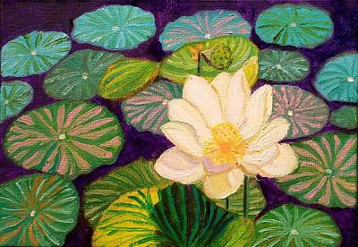 White Lotus Flower Art Print
