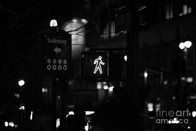 Crosswalk Photograph - White Man Pedestrian Walk Sign Illuminated At Night In Street Scene New York City by Joe Fox