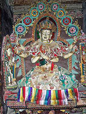 Many Faces Digital Art - White Many-armed Buddha Image In Baiju Temple At Palchor Monastery In Gyantse-tibet- by Ruth Hager