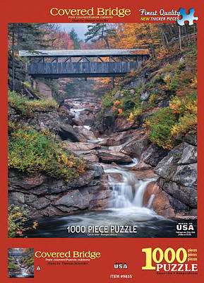 Covered Bridge Mixed Media - White Mountain Puzzles Covered Bridge by Thomas Schoeller