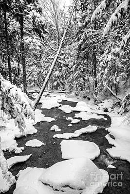 Photograph - White Mountains Winter Stream Black And White by Glenn Gordon