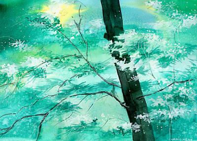 Autumn Landscape Drawing - White N Green by Anil Nene