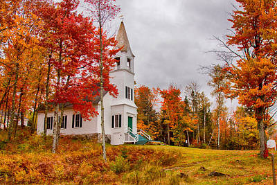 Digital Art - White New Hampshire Church by Jeff Folger