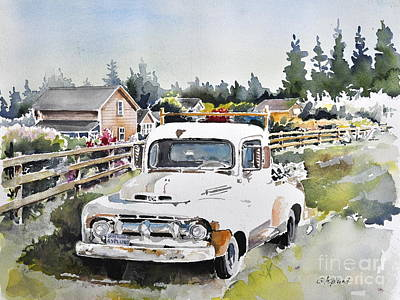 Painting - White Old Truck Parked Over The Fench by Gertrudes  Asplund