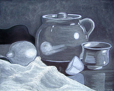 Crocks Drawing - White On Black Still Life by Linda Williams