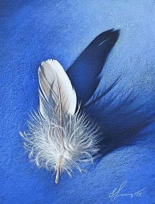 Drawing - White On Blue by Elena Kolotusha