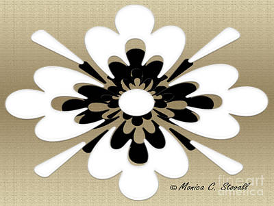 Digital Art - White On Gold Floral Design by Monica C Stovall