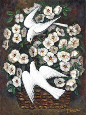Twins Painting - White On White by Linda Mears