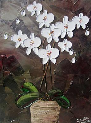 White Orchid Flowers Art Print by Christine Krainock