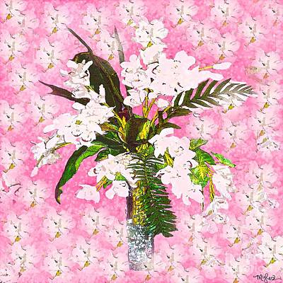 Painting - White Orchid On Shabby Chic Pink by Saundra Myles