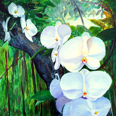 Painting - White Orchid's by Nancy Czejkowski