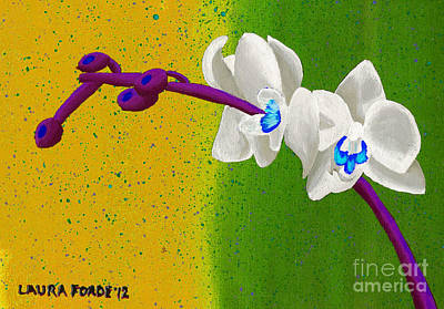 White Orchids On Yellow And Green Art Print by Laura Forde