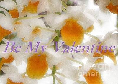Photograph - White Orchids Valentine Card by Barbie Corbett-Newmin