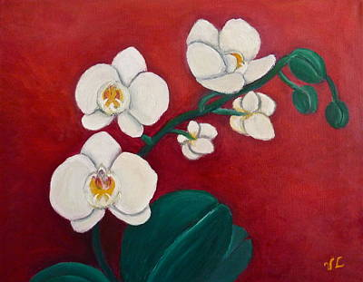 Painting - White Orchids by Victoria Lakes