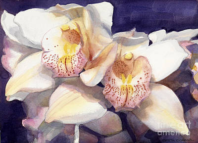 Painting - White Orchids Watercolor by Greta Corens