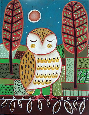Fall Trees Painting - White Owl by Karla Gerard