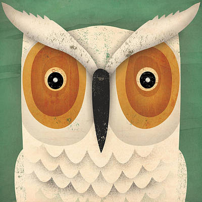 Fall Painting - White Owl by Ryan Fowler
