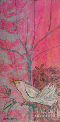 Painting - White Peace Bird On Pink by Robin Maria Pedrero