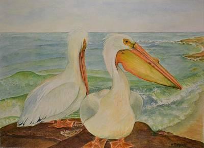 Wildlife Painting - White Pelicans by Hannah Boynton