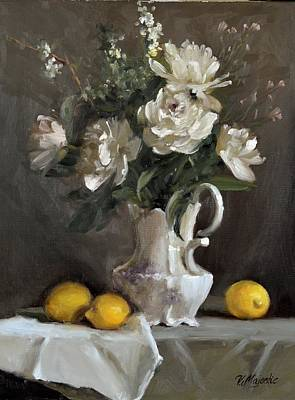 Painting - White Peonies by Viktoria K Majestic