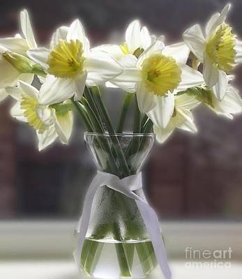 Photograph - White Petalled Daffodils In A Glass Vase by Joan-Violet Stretch