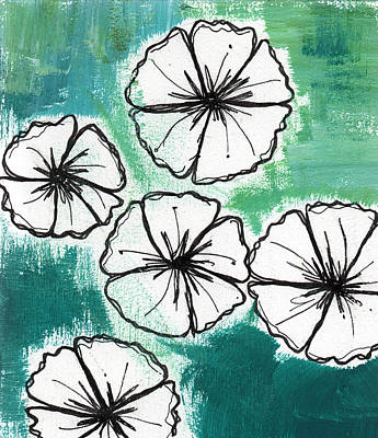 Folk Art Flowers Painting - White Petunias- Floral Abstract Painting by Linda Woods