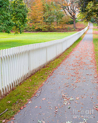 Photograph - White Picket Fence Deerfield Ma by Edward Fielding